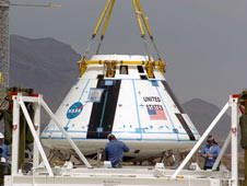 The boilerplate crew module for the Pad Abort-1 (PA-1) flight test