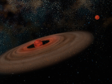 This is an artist's conception of the binary system 2M J044144 showing the primary brown dwarf that is estimated to be approximately 20 times the mass of Jupiter (at left) and its companion that is estimated to be 7 times the mass of Jupiter (at right). The disk of the primary likely never had enough material to make a companion of this mass. As a result, this small companion probably formed like a binary star. In this illustration, both objects are presented at the same distance to show relative sizes. Not shown are two other nearby objects, a low-mass star and a brown dwarf that are probably both parts of this system.