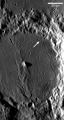 LROC Wide Angle Camera image M117507741, centered on Alphonsus crater. Approximate position of Featured Image is highlighted with arrow.
