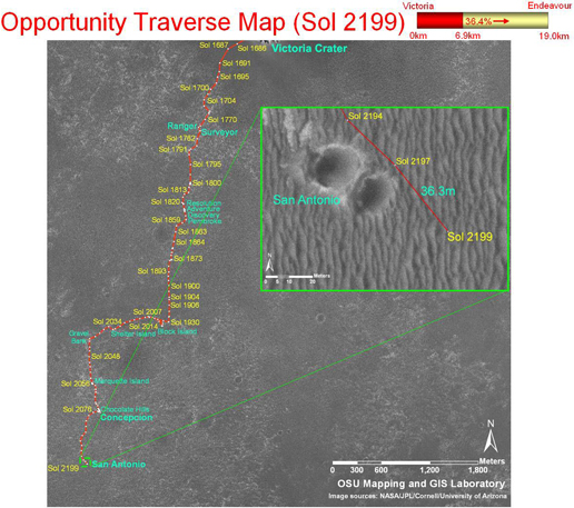 Opportunity's traverse map through Sol 2199