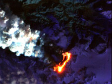 False-color short-wavelength infrared image of Iceland's Eyjafjallajokull volcano