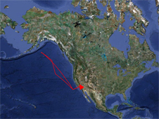 map showing Global Hawk flight path