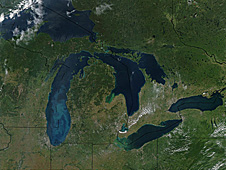Satellite image of the Great Lakes