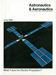 June 1968 cover of Aeronautics and Astronautics magazine showing a onetenth-scale model of a solar-electric spacecraft that was never funded.