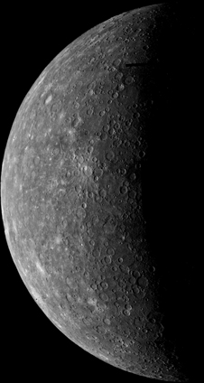 Mariner 10's first image of Mercury, acquired on March 24, 1974