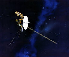 Artist�s concept of the Voyager spacecraft with its antenna pointing to Earth