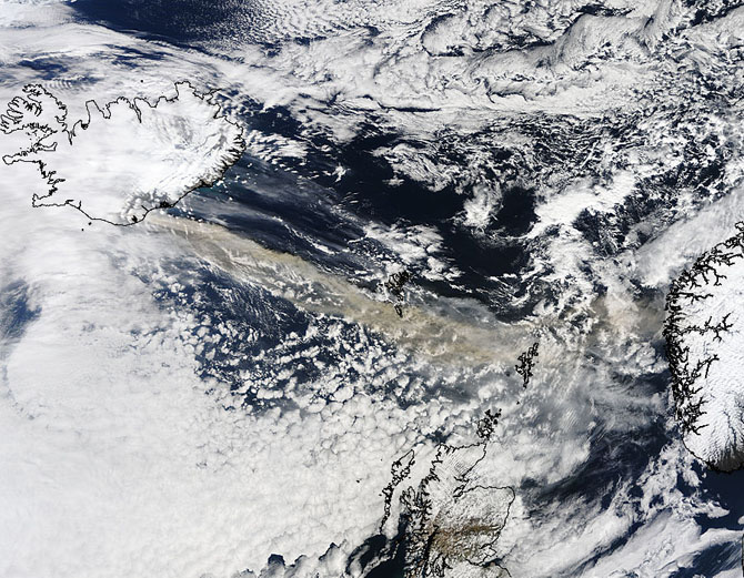 satellite image of Iceland and ash plume from Eyjafjallajokull Volcano