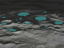 lunar craters with dark regions highlighted