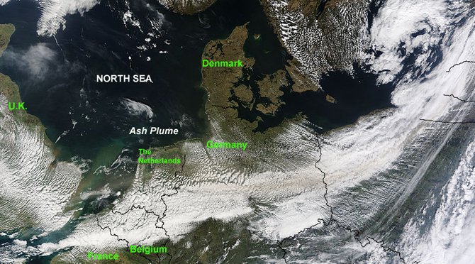 satellite image of Europe with ash plume from Iceland volcano