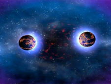 Visualization showing the merger of two neutron stars from a horizontal perspective