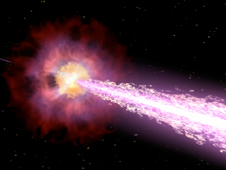 Visualization of star exploding and emitting a GRB jet
