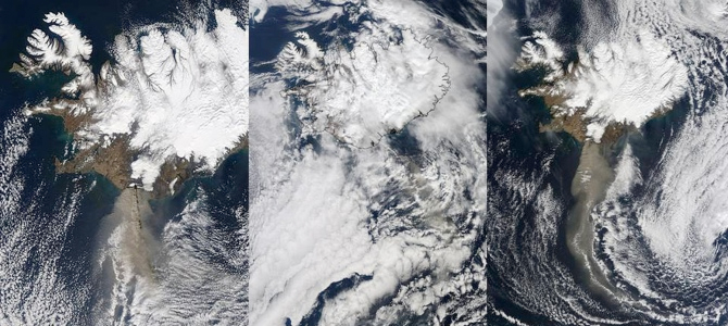 Satellite images of volcanic plume