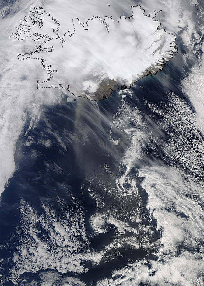 satellite image of Iceland and volcano plume