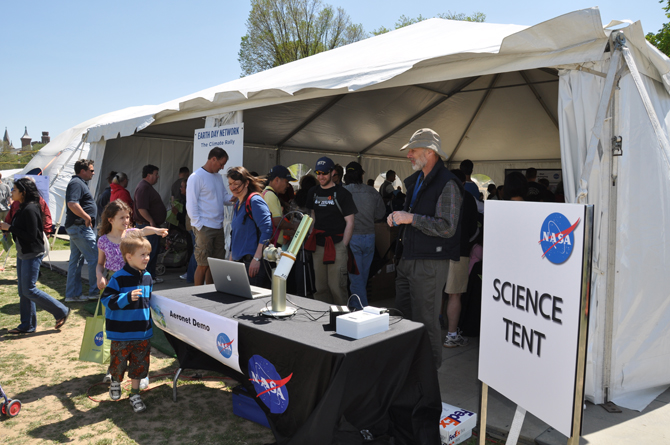 the NASA Village science tent