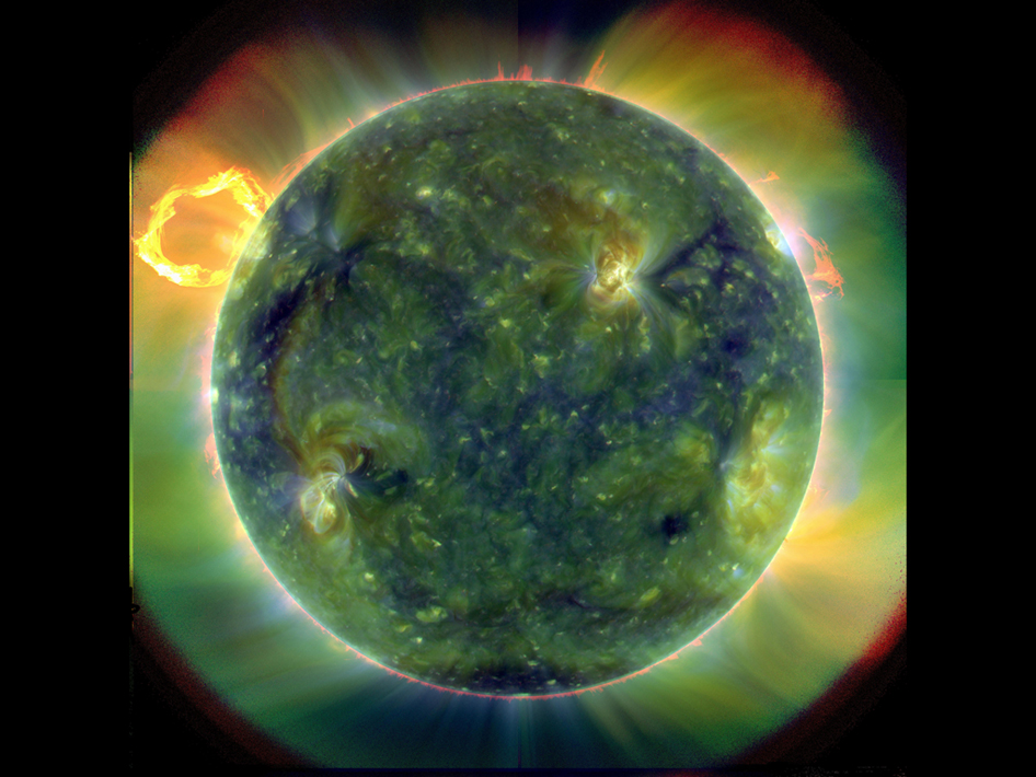 A full-disk multiwavelength extreme ultraviolet image of the sun taken by SDO on March 30, 2010.