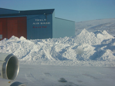 Post-storm snow removal in Thule, Greenland, created a clear runway for the successful sea ice flight on April 19.