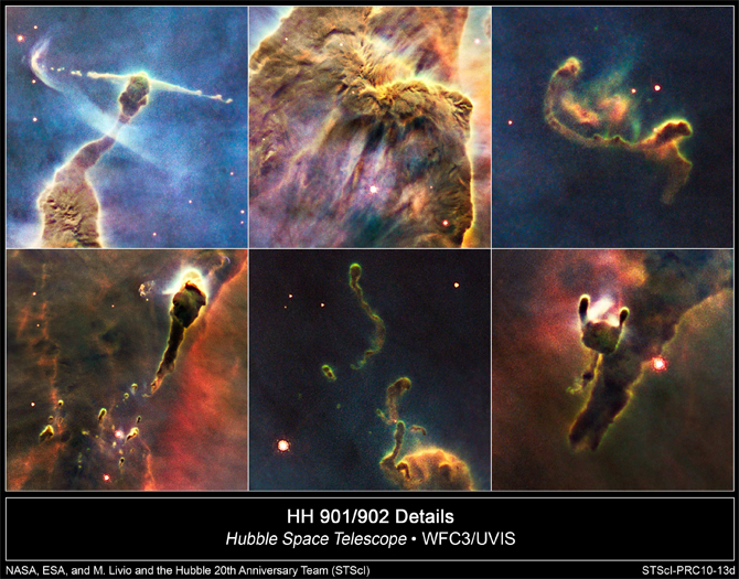 Hubble collage of sections of Carina Nebula