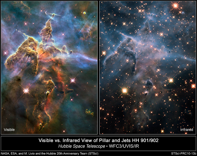 Visible (left) and infrared Hubble images of Carina Nebula