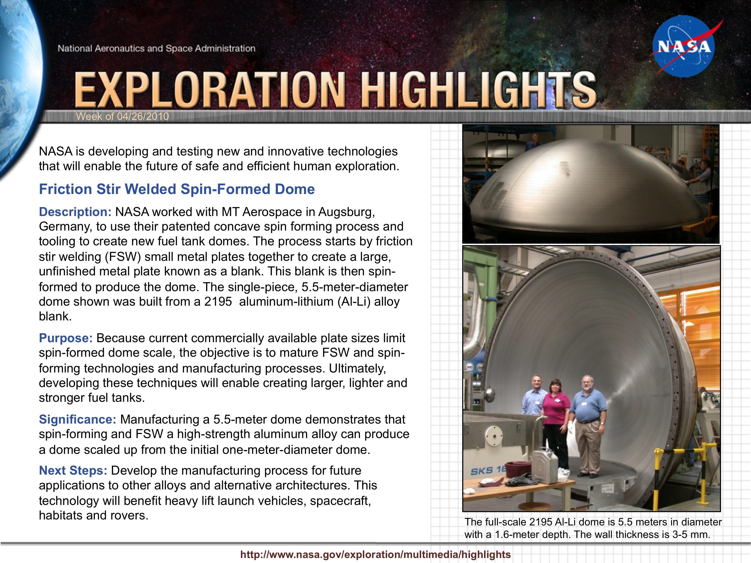 Friction Stir Welding >> NASA - Friction Stir Welded Spin-Formed Dome