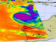 AIRS infrared image of Sean taken on April 24 at 0623 UTC when Sean was still a powerful tropical storm.