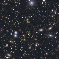 A simulation of a deep field that might be produced by Webb Telescope.