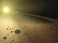artist's concept of a narrow asteroid belt filled with rocks and dusty debris