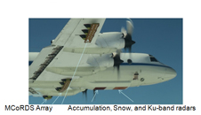 Photo of the bottom of the outfitted P-3B aircraft with instrument locations identified.