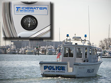 Hampton, Va., police boat with sensor installed, inset: close-up of fuel gauge