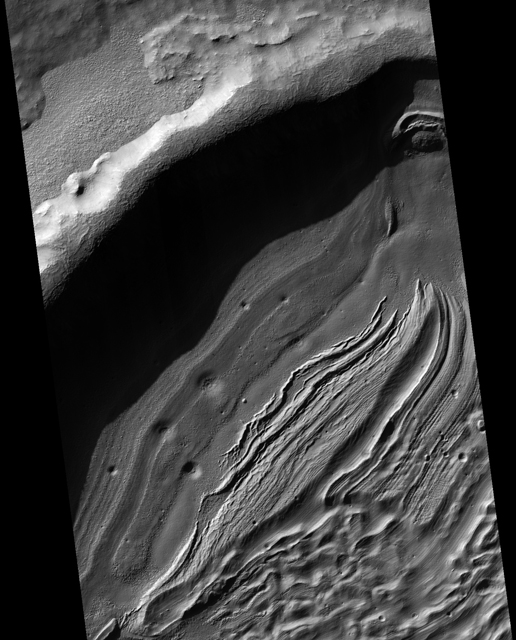 Small portion of the northwest quadrant of Hellas Basin, or Hellas Planitia, on southern Mars
