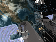Artist's concept of GOES-O in orbit above Earth.