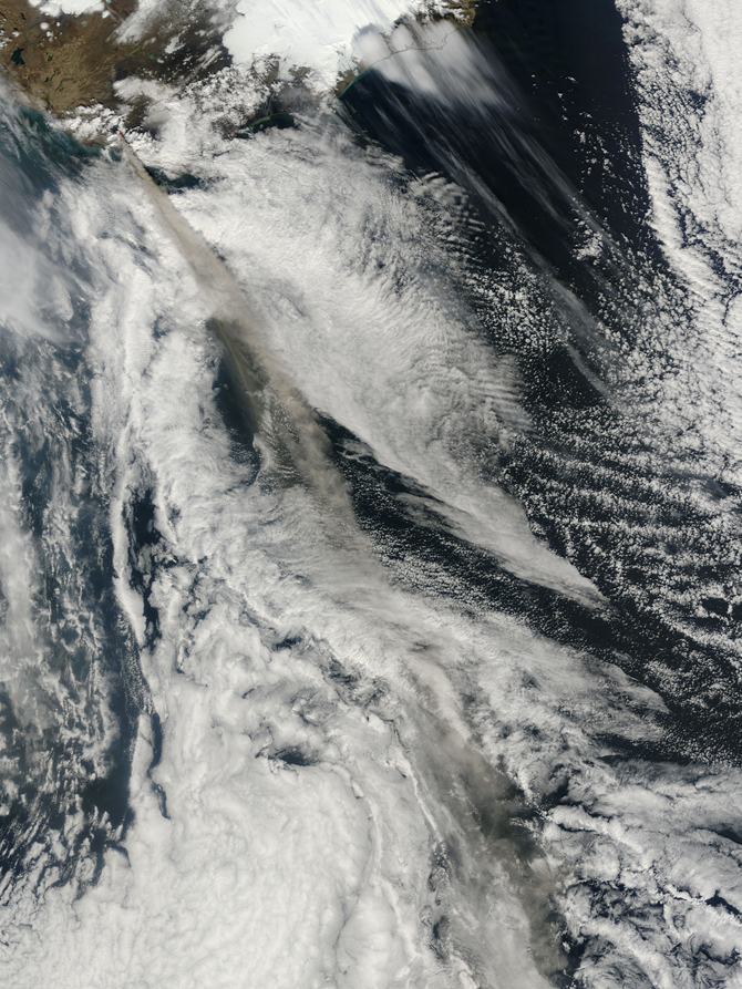 Ash plume from Eyjafjallajokull Volcano, Iceland on May 9