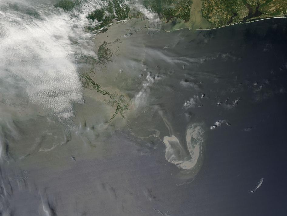 This visible image of the Gulf oil slick was taken on May 9 at 19:05 UTC (3:05 p.m. EDT) from the Moderate Imaging Spectroradiometer Instrument that flies aboard NASA's Aqua satellite.