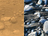 Rocks on the surface of Titan (left) and river rocks on Earth (right)