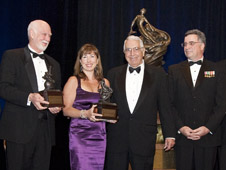 Deputy Administrator Lori Garver accepts the Collier Trophy on  behalf of NASA