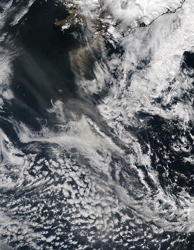 Eyjafallajokull ash plume seen from satellite