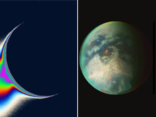 Saturn's moon Enceladus (left) and Titan (right)