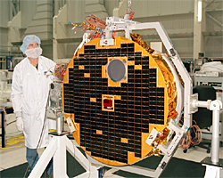 The Canadian SCISAT spacecraft during testing at the Canadian Space Agency David Florida Laboratory in Kanata, Ontario.