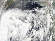 NASA's Aqua satellite captured a visible image of Tropical Storm 1B (lower left) soon after it formed.