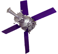 Computer-designed artist rendering of the Gravity Probe B space vehicle