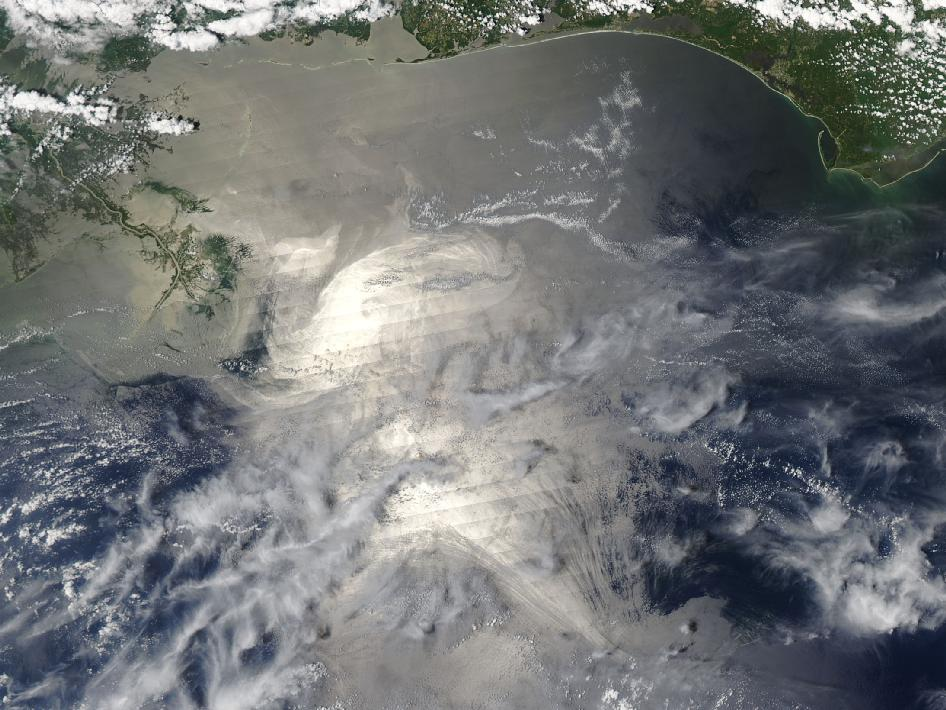 satellite image of gulf oil spill
