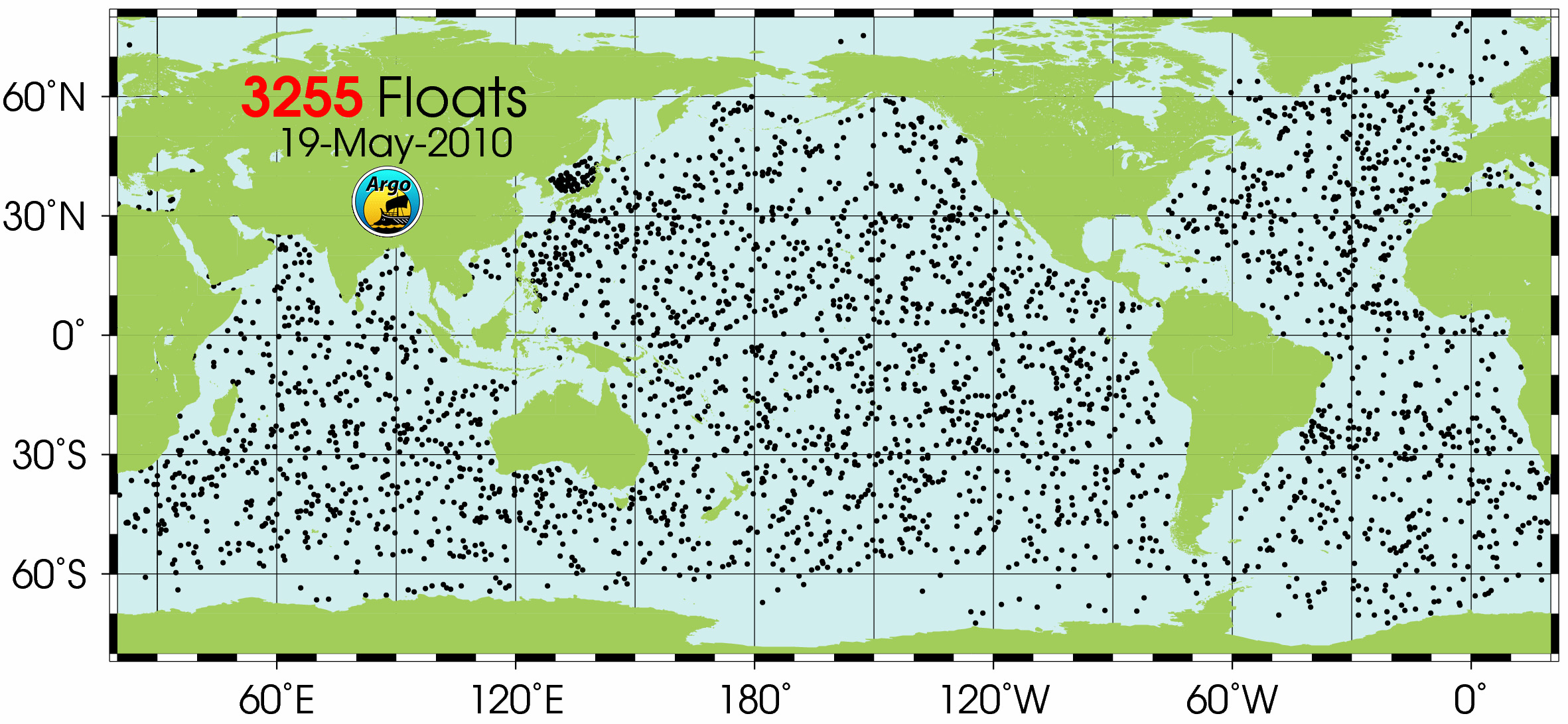 Map showing 3,200 free-floating Argo floats, instruments used to measure ocean temperature - International Argo Project