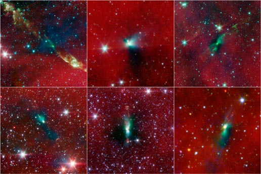 Six stars with collapsing clumps of gas and dust