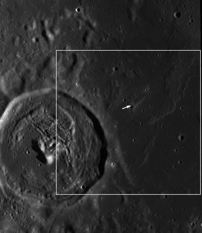 context image showing fresh crater within Mare Smythii
