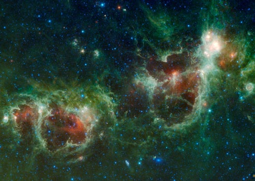 Heart and Soul nebulae in this infrared mosaic