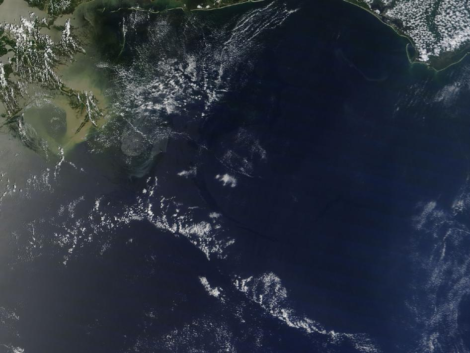 Saturday, May 22 at 17:00 UTC (1 p.m. EDT) oil slick image generated by NASA's Terra satellite.