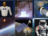 various images of space and astronauts