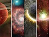 A collage of 4 vertical images of objects in space