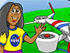 A cartoon drawing of a girl in front of an airplane