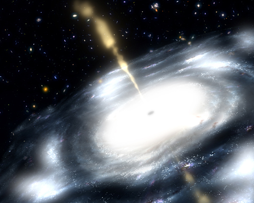 artist's concept showing a galaxy with a supermassive black hole at its core