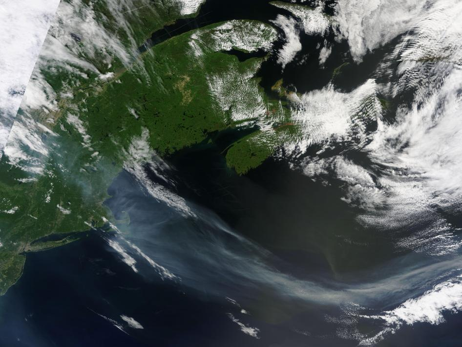 MODIS captured this image of smoke from a fire in Southern Quebec.